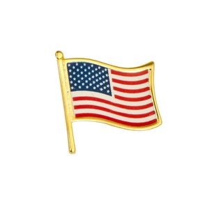 "Faro Stock Patriotic Design Pins w/ Gold Finish (USA Flag - Waving - 5/8"")"