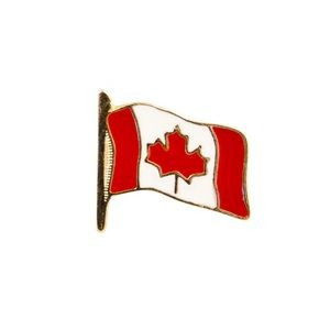 Stock Patriotic Design Pins w/ Gold Finish (Canada Flag)